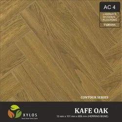 Kafe Oak Laminate Herringbone Wooden Flooring