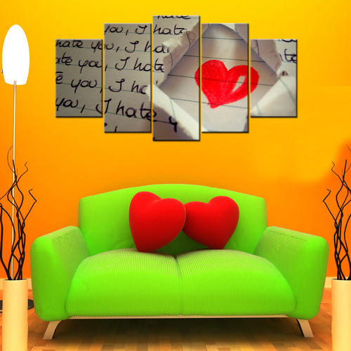Giftscorner I Hate You Love 5 Piece Canvas Wallart Hd Size Large