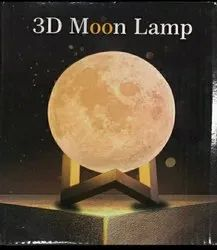 Non branded Eco Plastic 3D Printed Moon Lamp, For Decoration
