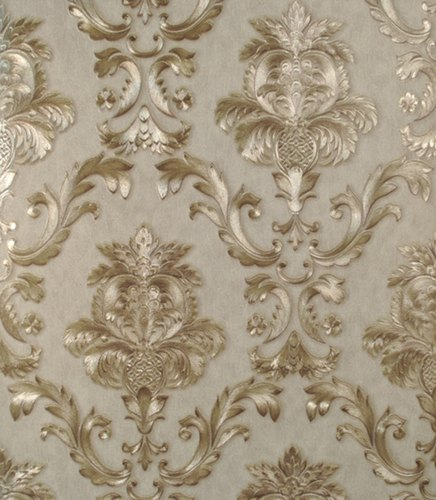 Vinyl Wallpaper Gold Wall Covering Roll Textured Metallic Damask 3d Stripe Luxury