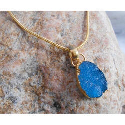 Exclusive Gold Plated Druzy Gemstone Pendant With Chain