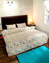 Floral Block Print Blue and White Quilts Drawstring Duvet Covers