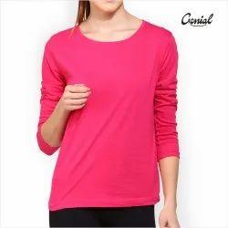 Biowash Cotton Full Sleeve T-Shirt For Women