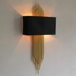 Metal Up Modern Decorative Gold Finish With Black Shade Wall Lamp