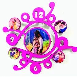 Personalized 5 Pic Multi Photo Frame With Wall Clock