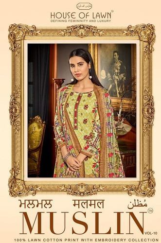 063130e77b Embroidered Cotton Dress With Chiffon Dupatta Material, Rs 610 ...