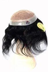 9x7 Natural Black (Dark Brown) Human Hair Royal Mirage Patch Double Layer Skin Base Natural Hair Lin
