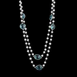 Kyanite Bezel Stone And Pearl Beaded Women Handmade Necklace