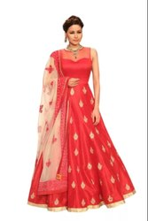 Krishna Creation Rani Pink Semi Stitched Embroidery Heavy Net Gown For Woman Free Size