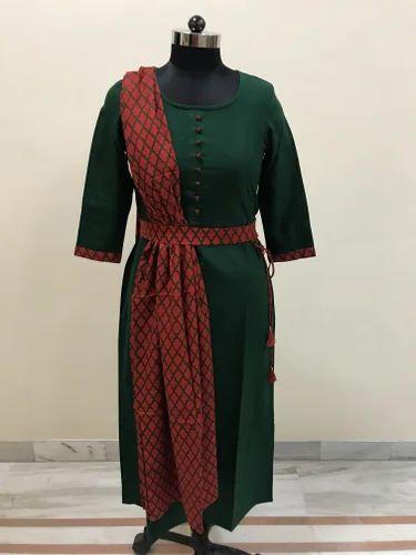 Lavanya Ladies Kurti With Red Dupatta and Belt Set
