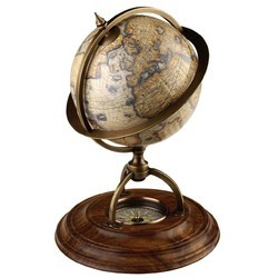 Compass Wooden Base World Terrestrial Globe