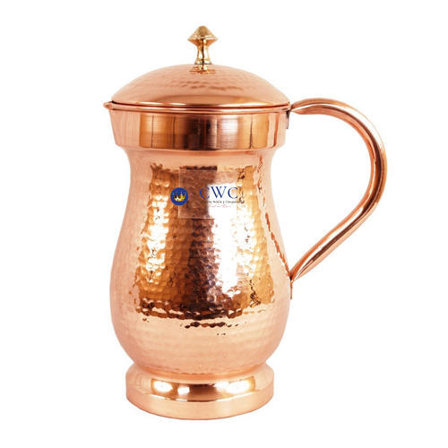 Brown Hammered Copper Jug Pitcher 1700 Ml, Capacity: 1.7 Litres
