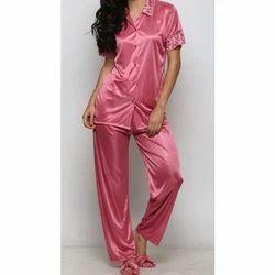 3dd099a5f1 Ladies Pink Satin Plain Night Suit