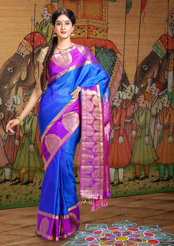 56aaafe1f3c63c Kancheepuram Silk Blue And Purple Kanjivaram Silk Saree