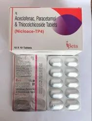 Aceclofenac 100Mg Thiocolchicoside Tablets 4 mg Pcm 325 mg