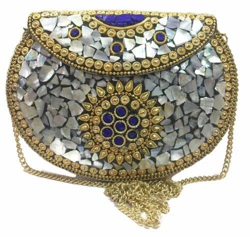 Wedding Box Clutch for Women Indian Ethnic Clutches for Women Party bag for women Shell clutch MOP bag Metal purse wallet sling bag bridal bag/…