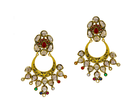 d20813e0a Gold Earring With Polki Ruby Emerald And Colour Stones at Rs 156190 ...