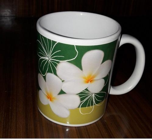 Conical Printed Orchid Sublimation Ceramic Mug, Packaging Type: Box
