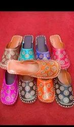 Colorful Embossed Back Open Juttis