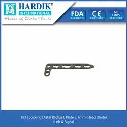 Locking Distal Radius L Plate 2.7mm (Head 3Hole)