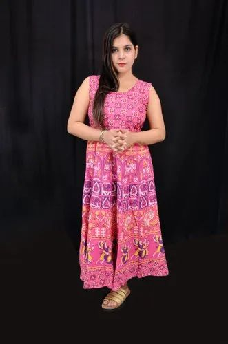 Multicolor Cotton Ladies Printed Party Gown, Size: S-XXL