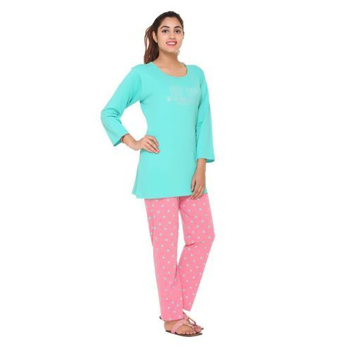 ec3291fc84 Ladies Cotton Sea Green & Peach Full Sleeves Night Suit, Rs 450 ...