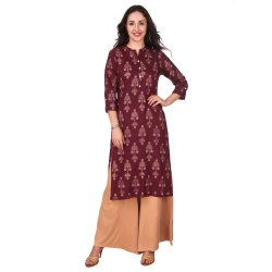 Maroon Color Printed Rayon Kurta For Women & Girls