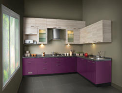 Cromatica Stainless Steel and Galvanized Steel V Shaped Modular Kitchen, South India, Kitchen Cabinets
