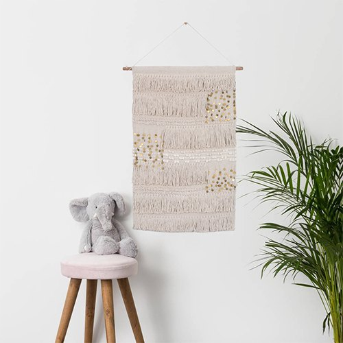 White Rectangle Decorative Cotton Boho Wall Hanging for Wall Decor
