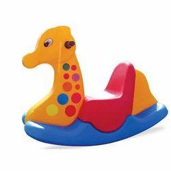 Multicolor Plastic Giraffe Ride on Toy