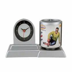Photo Print Table Clocks Cum Pen Stand