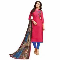 Rajnandini Dark Pink Chanderi Silk Embroidered Semi-Stitched Dress Material With Printed Dupatta