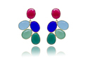 925 Sterling Silver Flower Design Gemstone Hot Look Gorgeous Earring