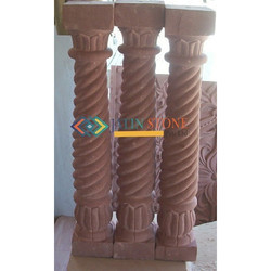 Pillar In Agra Red Sandstone