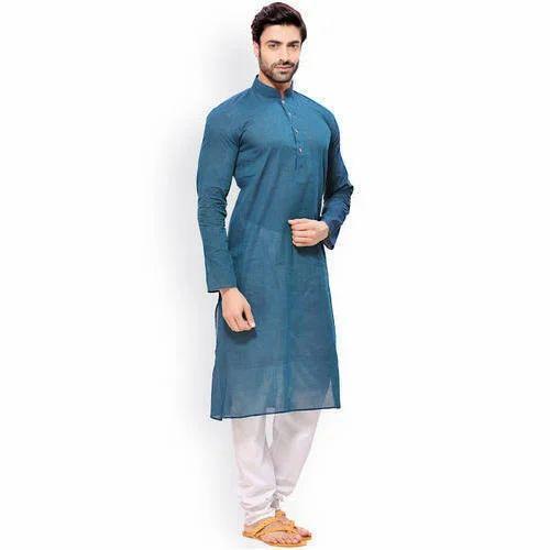 Cotton Casual Wear Men Plain Kurta