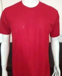 Round Half Sleeve Plain Polyester Mens T Shirt