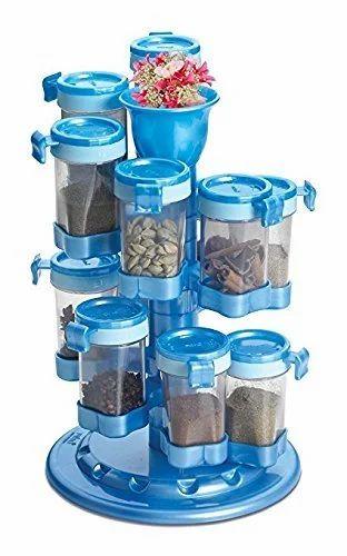 983840a4ac52 12 Jar Spiral Spice Rack Masala Storage Box Container