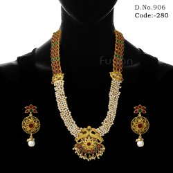 Ruby Pearl Temple Necklace Set