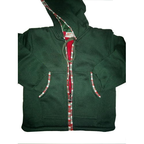 Casual Wear Green Boys Hooded Woolen Jacket, S-XXL