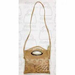 Pu Foam Las Light Brown Handbag
