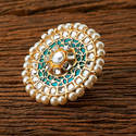 Indo Western Trendy Pearl Ring With Gold Plating 9392