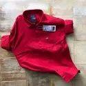 Plain Collar Neck Mens Casual Cotton Shirt, Size: M-xxl