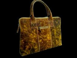 Dark Brown Handmade Crunch Leather Smart Hand Bag, For Daily Use