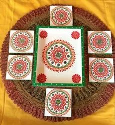 Multicolor Rectangular Traditional Design Wooden Tray With Tea Coasters, Size: 8x10x1