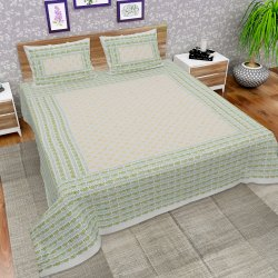 Hand Block Printed Cotton King Size Bed Sheet