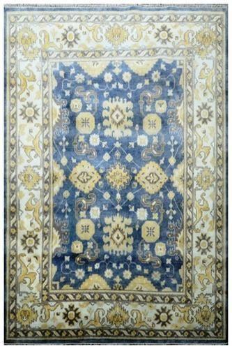 Hand Knotted Oushak Rug Geometric Carpet