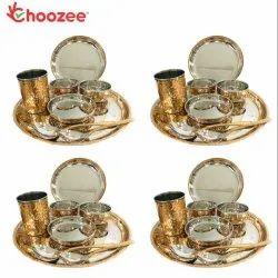 Choozee - Copper Thali Set of 4 (32 Pcs) Plate, Bowl, Spoon & Glass
