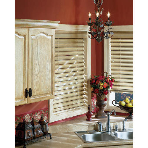 Annapurna White Country Wood Kitchen Blind