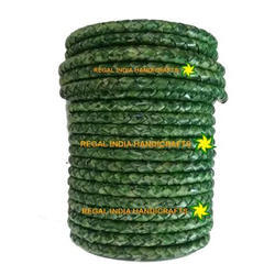 Antique Parrot Green Braided Leather Cord