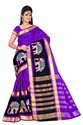 Women Plain Cotton Silk Saree with Elephant Embroidery Work